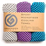 """Grounded Sport Ultra Lightweight Compact (12"""" x 39"""") Cooling Towel 3-Pack (Packaged as Shown)   Microfiber Sport Towel for Outdoors, Gym, Travel or Gifts"""