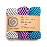 Grounded Sport Ultra Lightweight Compact (12' x 39') Cooling Towel 3-Pack (Packaged as Shown) | Bamboo Microfiber Towel for Outdoors, Gym, Travel or Gifts (Blue/Gray/Purple)