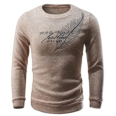 Forthery Mens Letter Knitwear Slim Fit Sweaters Tops Blouse