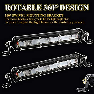 """8 inch Led Light Bar, 7"""" 18W Led Driving lights, Jeep Off-road Lights, 4D Flood Beam Driving Fog Lights with Mounting Bracket for Off Road Truck Car ATV SUV 4X4 4WD Jeep Boat Auto Bar(4D-FLOOD-2pcs): Automotive"""