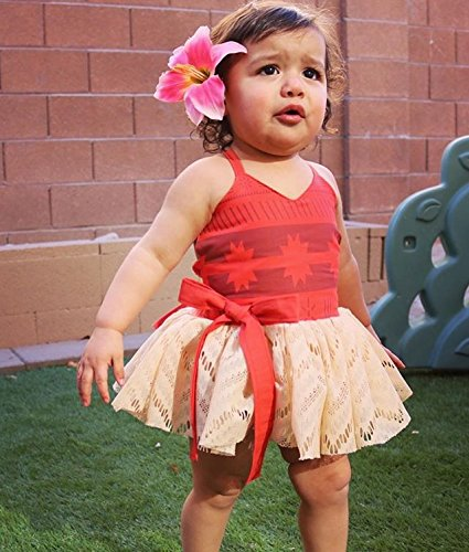 AmzBarley Moana Dress for Baby Girls Costume First Birthday Theme Party Fancy Ball Cotton Dresses Halloween Age 1-6 Months Size 18M by AmzBarley (Image #6)