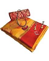 Promise Creation Yellow Matka Cotton Silk Women Saree With Blouse Piece