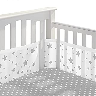 BreathableBaby 3pc Classic Crib Bedding Set – Star Light White and Gray