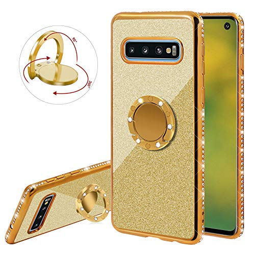 (YiCTe Glitter Case for Samsung Galaxy Note 8 [Not for Samsung Galaxy S8],Luxury Bling Diamond Sparkle Rhinestone Plating Cover with 360 Degree Ring Kickstand Ultra Thin Soft TPU Silicone Case,Gold)