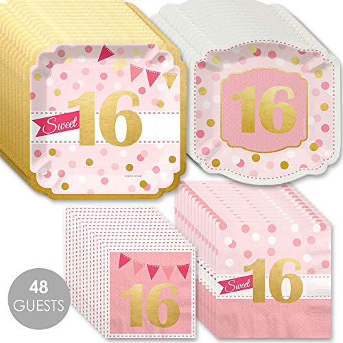 Sweet 16 with Gold Foil - 16th Birthday Party Tableware Plates and Napkins - Bundle for 48 -