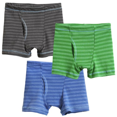 City Threads Boys' Striped Boxer Briefs 3-Pack Cotton/Poly Blend; For Sensitive Skin and Sensory Friendly SPD Made in the USA, Char/Elf/Smurf, 18/24 mo.