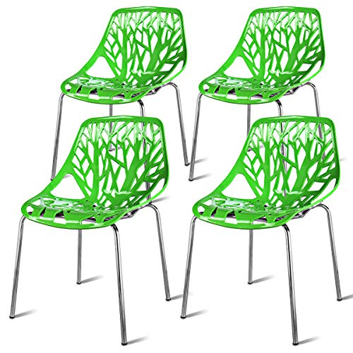 Giantex Set of 4 Modern Dining Chairs Birds Nest Set Modern Stackable Plastic Hollow-Out Geometric Style Furniture Outdoor Indoor Dining Side Chair (4 Packs, Green)