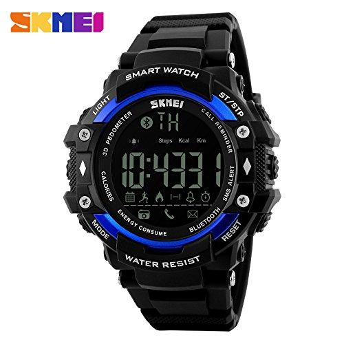 Men's Smart Watch Men's Fashion Sports Watch Bluetooth Pedometer Remote Control Camera Digital Watch 2018/3/24 2:27:13 (Blue)