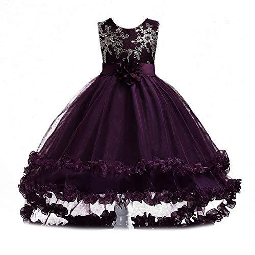 4d06d80a2abe79 Si Rosa by Hopscotch Girl s Floral Applique Cotton Dress (Purple