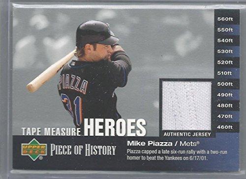 (2002 Upper Deck Baseball Mike Piazza Tape Measure Heroes Jersey Card #)