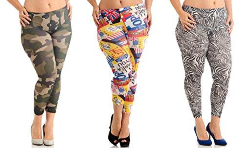 3 Pack Plus Size Printed Leggings Deal GBP-091-DLP-043-DLP-035-2X