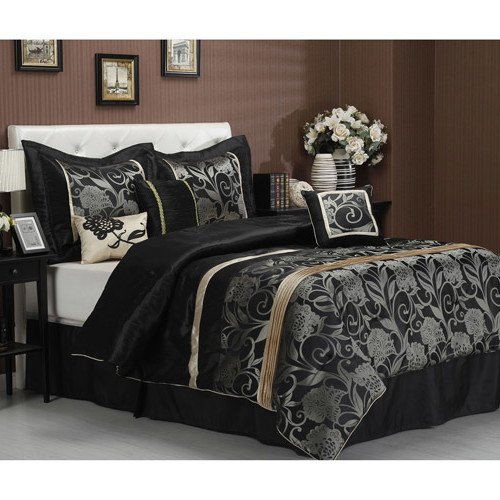 Comforter 7 Queen Gold Piece (OTS 7 Piece Black Grey Gold Floral Motif Pattern Comforter Queen Set, For Luxury Moder Bedrooms, Stylish High-Class Damask Flowers Stripe Design, French Country Style, Vibrant Bold Colors, For Unisex)