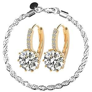 MyDreamsStore New Fashion Women's 18k White Gold Gp Clear Swarovski Elements Rhinestone Crystal Zircon Cz Earrings with Bracelet