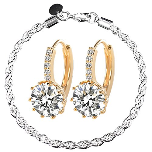 MAKIYO New Fashion Women's 18k White Gold Gp Clear Swarovski Rhinestone Crystal Zircon Cz Earrings with Bracelet (White Gold Zircon Earrings)