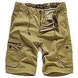 Eaglide Mens Casual Cargo Shorts, Mens Slim Fit Athletic Biking Casual Chino Shorts (Light Khaki, 34W)