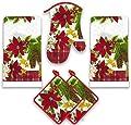 Kitchen Towel Set 5 Piece Towels Pot Holders Oven Mitt Decorative Design Everyday Use …