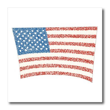 3dRose ht_15293_3 U S Flag in Pointillism-Iron on Heat Transfer for White Material, 10 by 10-Inch