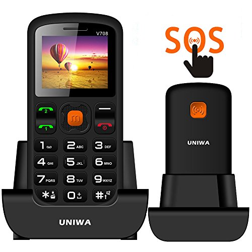Unlocked Cell Phone, UNIWA V708 Senior Cell Phone Elderly Kids Old Man GSM Mobile Phone Dual SIM Big Button 1.77 Inch Screen Large Digital Emergency Phone with FM Radio & SOS Emergency Button & Torch