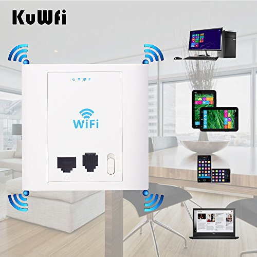 KuWFi In Wall Wireless AP router 300Mbps in wall AP Wireless Access Point with 802.3af PoE and Access control (In Wall Access Point)