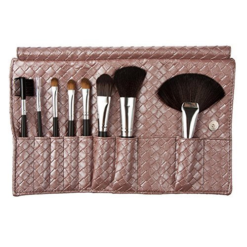 Chinatera 8 Pcs Professional Cosmetic Makeup Brush Set with Fashion Braid PU Foldable Handheld Bag (Pink)