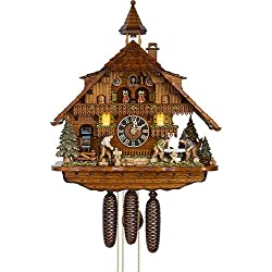 Hönes Cuckoo Clock Black Forest house with moving wood chopper, mill wheel and illuminated windows