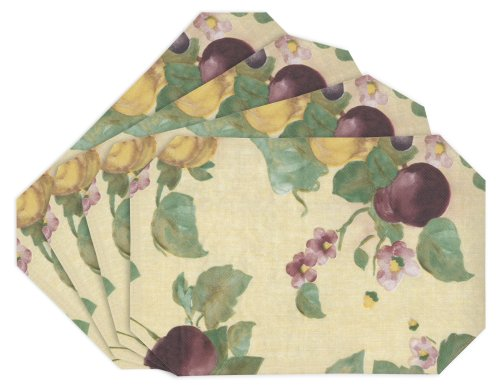 EVERYDAY LUXURIES Fresco Fruit Vinyl Placemats, Set of 4 [Kitchen]