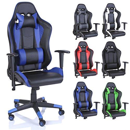 TRESKO® Silla de Escritorio Gamer Profesional | Silla de Oficina Ergonomica Gaming | Regulable, Reclinable | para Jugadores de PC | (Azul)