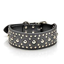 Urparcel 18-24`` Leather Studded Large Dog Collar 4 Colors 3 Size Pet Collar (Black, Large)