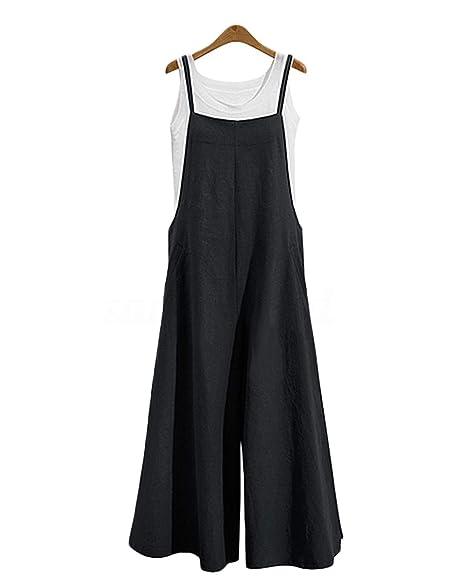 45127aaf59 Amazon.com  LVCBL Womens Loose Overalls Long Suspender Jumpsuit Bib Baggy  Romper Pants Plus Size 8 Colors  Clothing