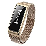 WitMoving Fitness Tracker Watch Milanese Loop Stainless Steel Bands Rose Gold Heart Rate Monitor With Unique Magnet Lock Waterproof Fitness Tracker for Women With Activity Tracker Sport Pedometer Gold