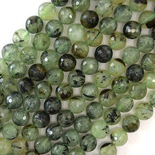 1 Pc 10mm Faceted Prehnite Round Beads Gemstone 15.5