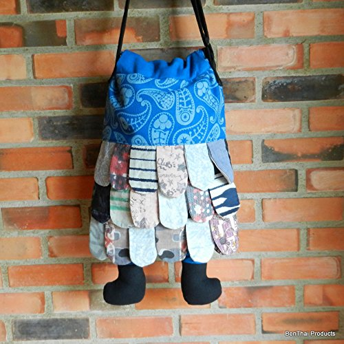 Boys Handbag Handmade Girls BTP Color Unique Women Cute Assorted for Hipster Patchwork Men Crossbody Blues Owl Bag 64pT84nd