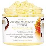 Body Essentials Coconut Milk & Honey Comb Body Scrub with Dead Sea Salt - 6 Essential Oils - 3 Vitamins - 100% Natural Exfoliant - Organic - Younger Healthier Skin