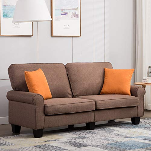 Mecor Loveseat Sofa Couch,70 Inch Living Room Sofa Line Fabric Classic Modern Furniture (Brown)