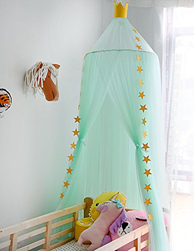 Hoomall Mosquito Net Bed Canopy Round Lace Dome Princess Play Tent Bedding for Baby Kids Children's Room 240cm (Light Green)