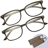 Optix 55 Reading Glasses 2 Pack – Men's and Women's Readers - Rectangle Brown Plastic Frames, Comfortable, Durable and Lightweight - 2 Bonus Slip In Pouches - +2.00 Prescription