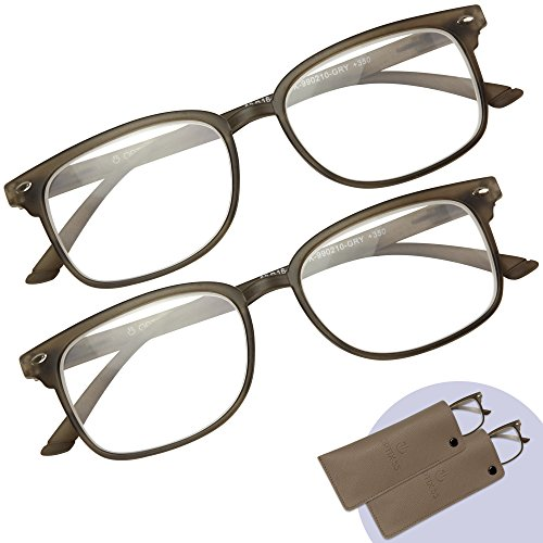 Optix 55 Reading Glasses 2 Pack - Men's and Women's Readers - Rectangle Brown Plastic Frames, Comfortable, Durable and Lightweight - 2 Bonus Slip In Pouches - +2.00 ()