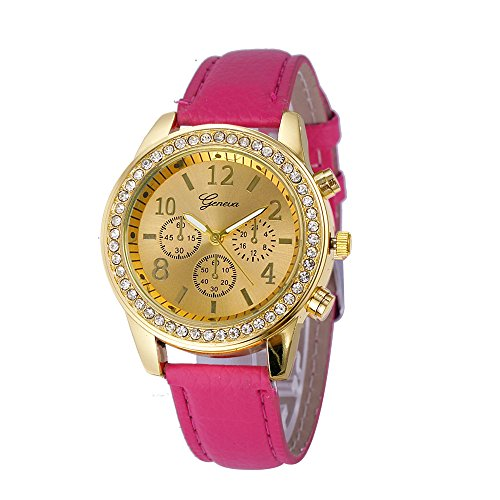(Womens Quartz Watch,Hosamtel Chronograph Classic Female Lady Girls Analog Wrist Watch With Leather Band for Women D87 (Hot Pink))