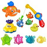 Shinehalo Floating Bath Toys Toddler 11 PCS, Including Fishing Set, Floating Wind Up Whale, Rotating Spray Octopus, Stacking Ocean Cups, Bath Duck, Baby Bathtub Pool Toys Girls & Boys - Multi-Colour