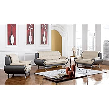 American Eagle Furniture Highland Complete 3 Piece Living Room Leather Sofa  Set, Light/Dark