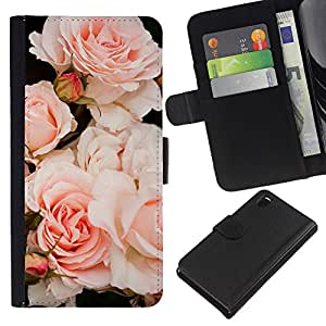 KLONGSHOP // Tirón de la caja Cartera de cuero con ranuras para tarjetas - Luz Rosas Árbol de Composición - Sony Xperia Z3 D6603 //
