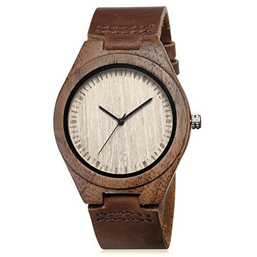 (CUCOL Men's Walnut Wood Cowhide Leather Strap Watch Wooden Case Analog Quartz Wristwatch with Gift Box)