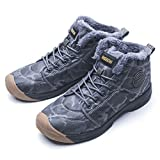 Git-up Mens Womens Winter Snow Boots Luxury Fur Water-Resistant Outdoor Anti-Slip Camouflage Ankle Shoes46,Gray