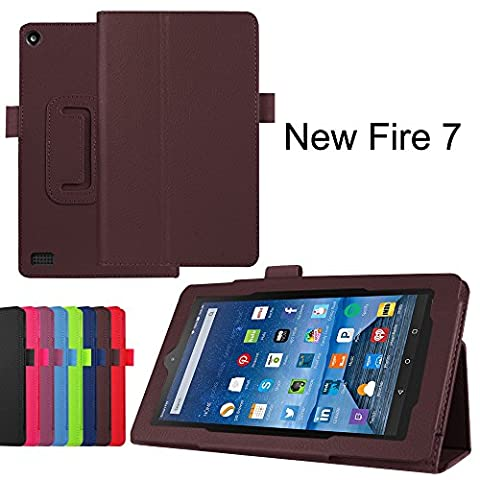 Fire 7 Case, KAMII Slim Lightweight Premium PU Leather Protective Folding Folio Case Cover for Amazon Kindle Fire 7 inch 7