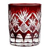 Double Old Fashioned Glass 9.4Oz Edo Kiriko Cut Glass Star Motif - Red [Japanese Crafts Sakura]