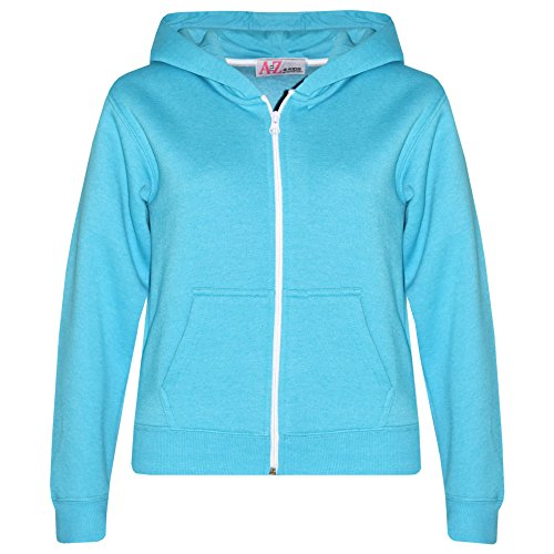 a2z4kids A2Z 4 Kids Kids Jacket Girls Boys Plain Fleece Hoodie Zip Up Style Zipper 5-13 (11-12 Years, Aqua)