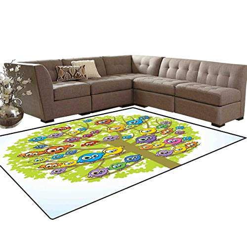 Funny Kids Carpet Play-mat Rug Cartoon Group of Fun Colorful Canary Bird Family on Oak Branches Animal Illustration Room Home Bedroom Carpet Floor Mat 6'6