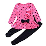 Koly Newborn Baby Clothing Sets Long-Sleeved Heart-shaped Print Bow Cute 2PCS Kids Set T shirt + Pants + Hairband (6-12M, Hot Pink)