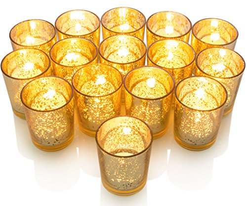 Granrosi Gold Mercury Votive Candle Holder Set of 15 - Made of Mercury Glass with A Speckled Gold Finish - Adds The Perfect Ambience to Your Wedding Decorations Or Home Decor