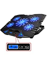 TopMate C5 10-15.6 pulgadas Gaming Laptop Cooler Cooling Pad | 5 ventiladores silenciosos y pantalla LCD | Fuerte viento de 2500 RPM dise?ado para jugadores y oficinas